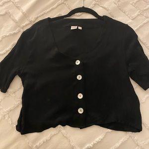 Black button up short sleeve top